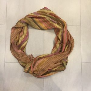 Mauve Tan Orange Violet Silver Wrap Scarf